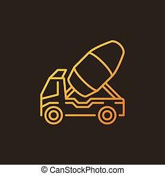 Concrete truck outline vector colorful icon - mixer car logo