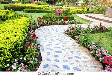 concrete walkway in park