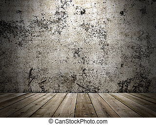 concrete wall and wooden floor in a grunge style