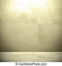 Concrete wall background in retro style, with hightlight on the top.