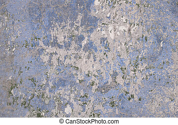 Concrete wall covered with an old azure paint