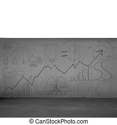 Concrete wall with business concept doodles isolated in white