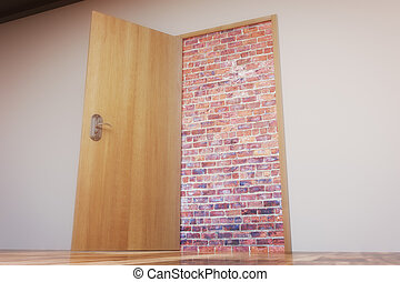 Concrete wall with door