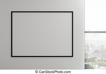 Concrete wall with frame