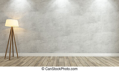 concrete wall with light 3d rendering