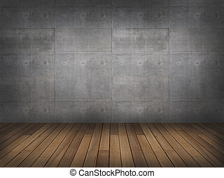 concrete wall with wood floor,3d