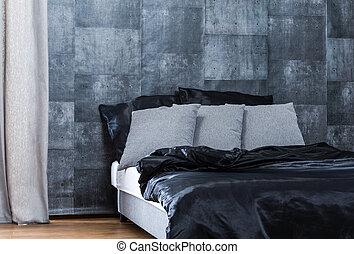 Concrete wallpaper in bedroom