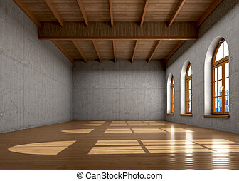 Concrete walls, a large room with windows and ceiling with...