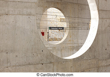 Concrete walls on a train station