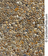 concrete with gray white orange brown stone pebbles wall