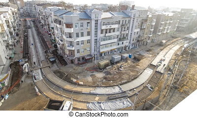 Concrete works for road maintenance construction with many...