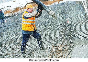 concreter, ouvrier construction