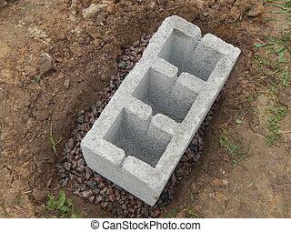 Concreting foundation blocks, cinder, concrete work