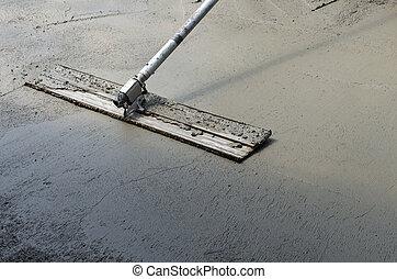 concreto, acabamento, chão