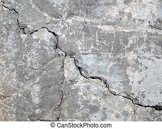 concreto, agrietado, primer plano, textura, plano de fondo