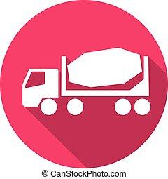 concreto, apartamento, caminhão, misturador, ícone