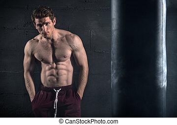 concreto, atletico, nudo, parete, torso, uomo