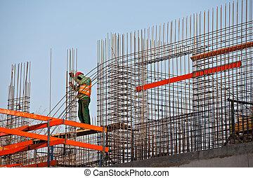 concreto, barras, trabajador, prepearing