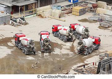concreto, batidoras, tractor, y, construcción, materiales,...