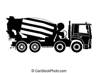 concreto, caminhão, misturador