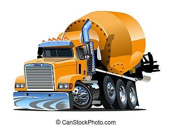 concreto, caricatura, caminhão, misturador