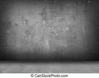 concreto, cinzento, interior, fundo