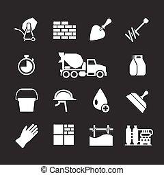 concreto, conjunto, cemento, iconos