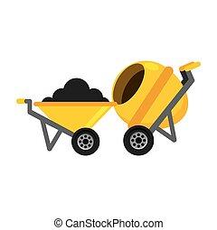 concreto, construção, misturador, carrinho de mão