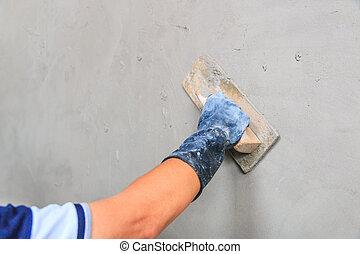 concreto, construção, -, plasterer