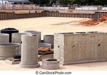 concreto, construcción, hoyo, sitio, precast