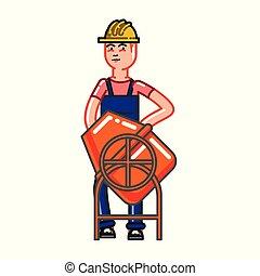 concreto, construtor, misture