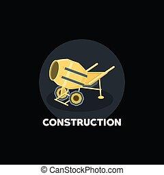concreto, desenho, misturador