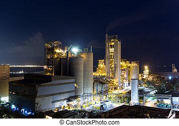 concreto, fábrica, cimento, noturna