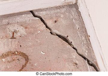 concreto, fenda, fundação