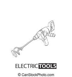 concreto, ferramenta, misturador, mão