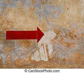 concreto, frecce, rosso, wall.