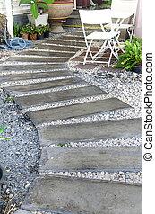 concreto, giardino, passerella