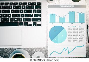 concreto, gráfico, empresa / negocio
