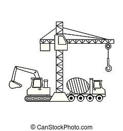 concreto, guindaste, construção, escavadora, misturador