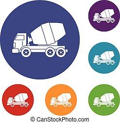 concreto, jogo, caminhão, misturador, ícones