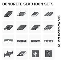 concreto, lastra, icone