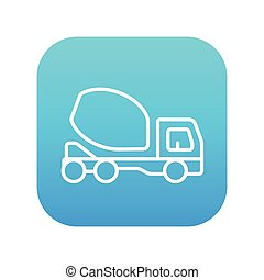 concreto, linha, caminhão, icon., misturador