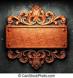 concreto, madera, ornamento, rojo