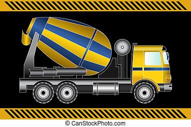 concreto, maquinaria construção, misturador, equipamento