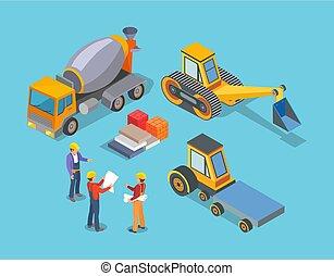 concreto, maquinaria, trabalhadores construção, misturador