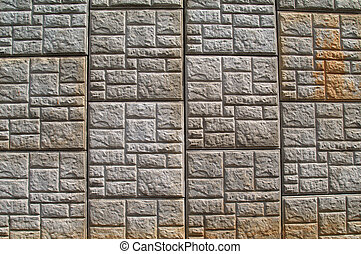 concreto, modelado, muro de contención, un