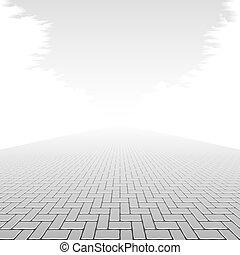concreto, pavimento, bloco
