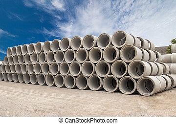 concreto, pila, agua, drenaje, pozos, tubos, descargas