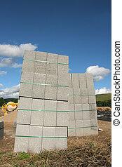 concreto, pilhas, bloco