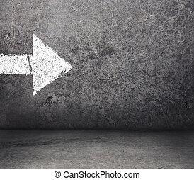 concreto, sala, com, seta, ligado, parede